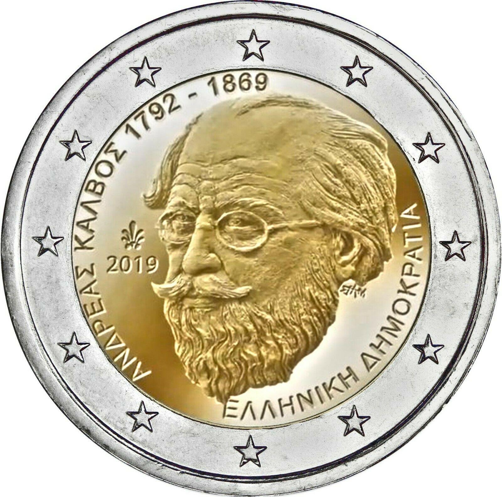 Греция 2 евро 2019 г. 150 лет со дня смерти Андреаса Калвоса