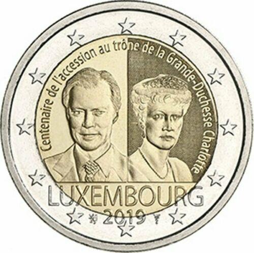 Люксембург 2 евро 2019 г. 100-летие вступления на престол Великой Герцогини Люксембурга Шарлотты