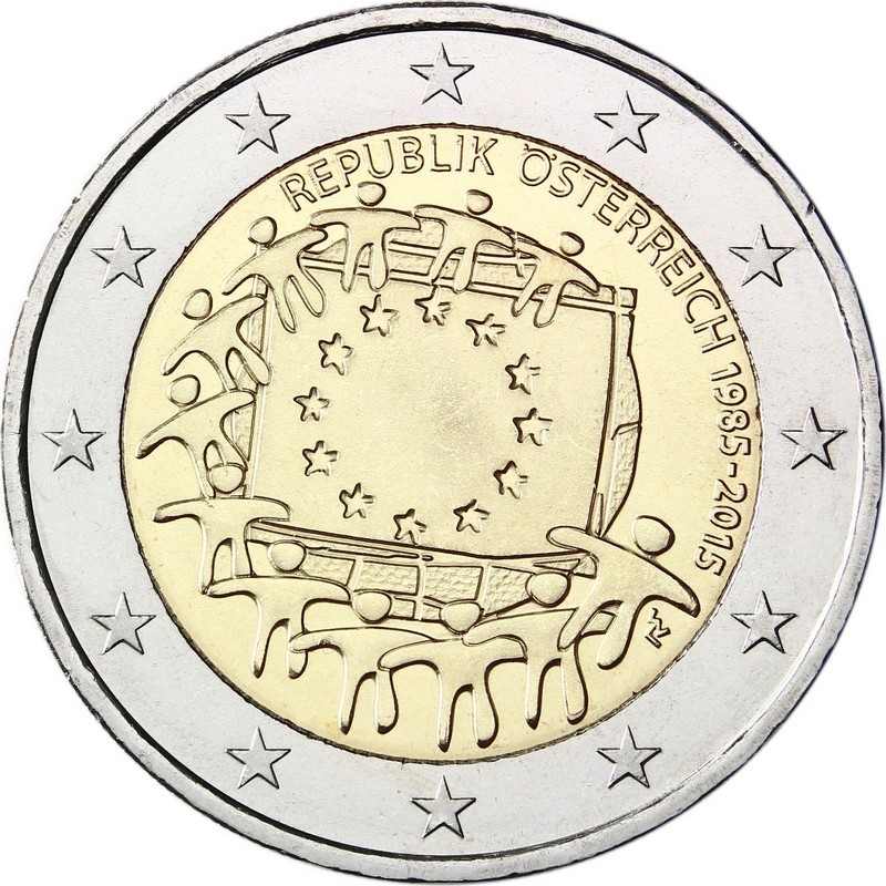Австрия  2 евро 2015 г. 30 лет флагу Евросоюза
