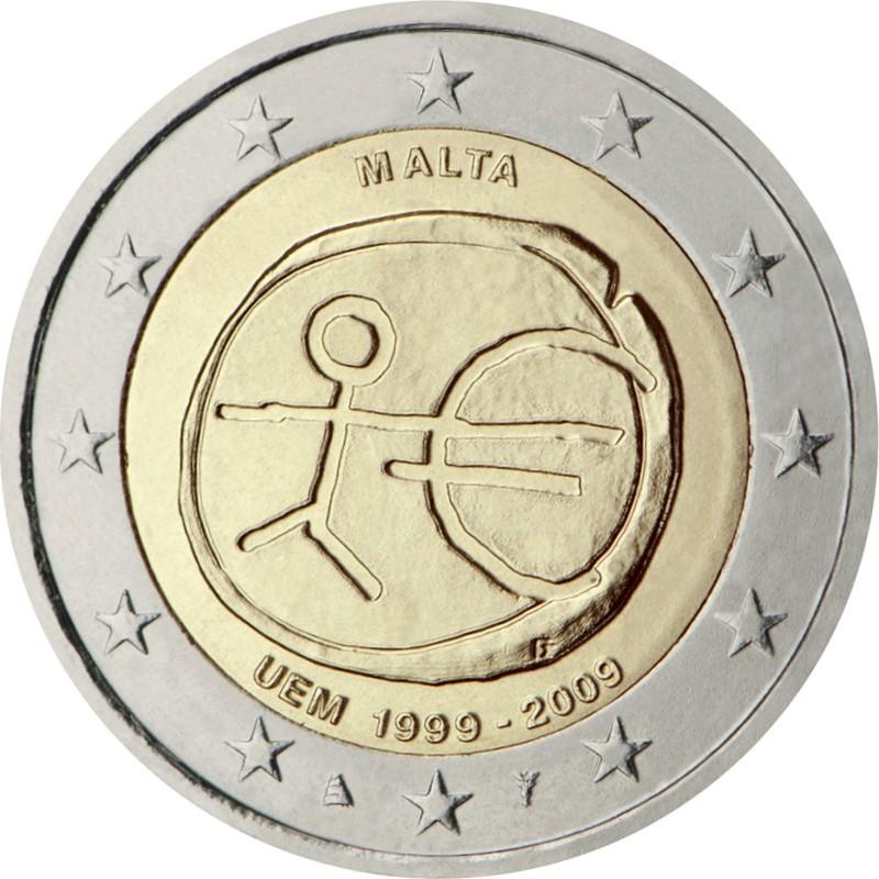 Мальта 2 евро 2009 г. 10 лет экономическому союзу