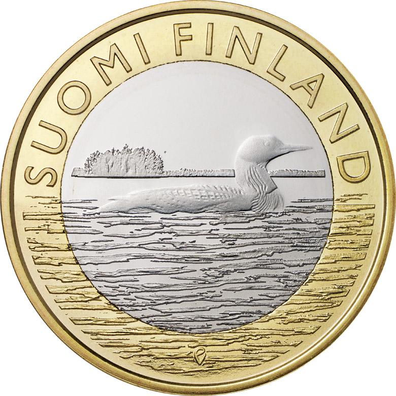 Финляндия 5 евро 2014 г. Провинция Саво- черная гагара
