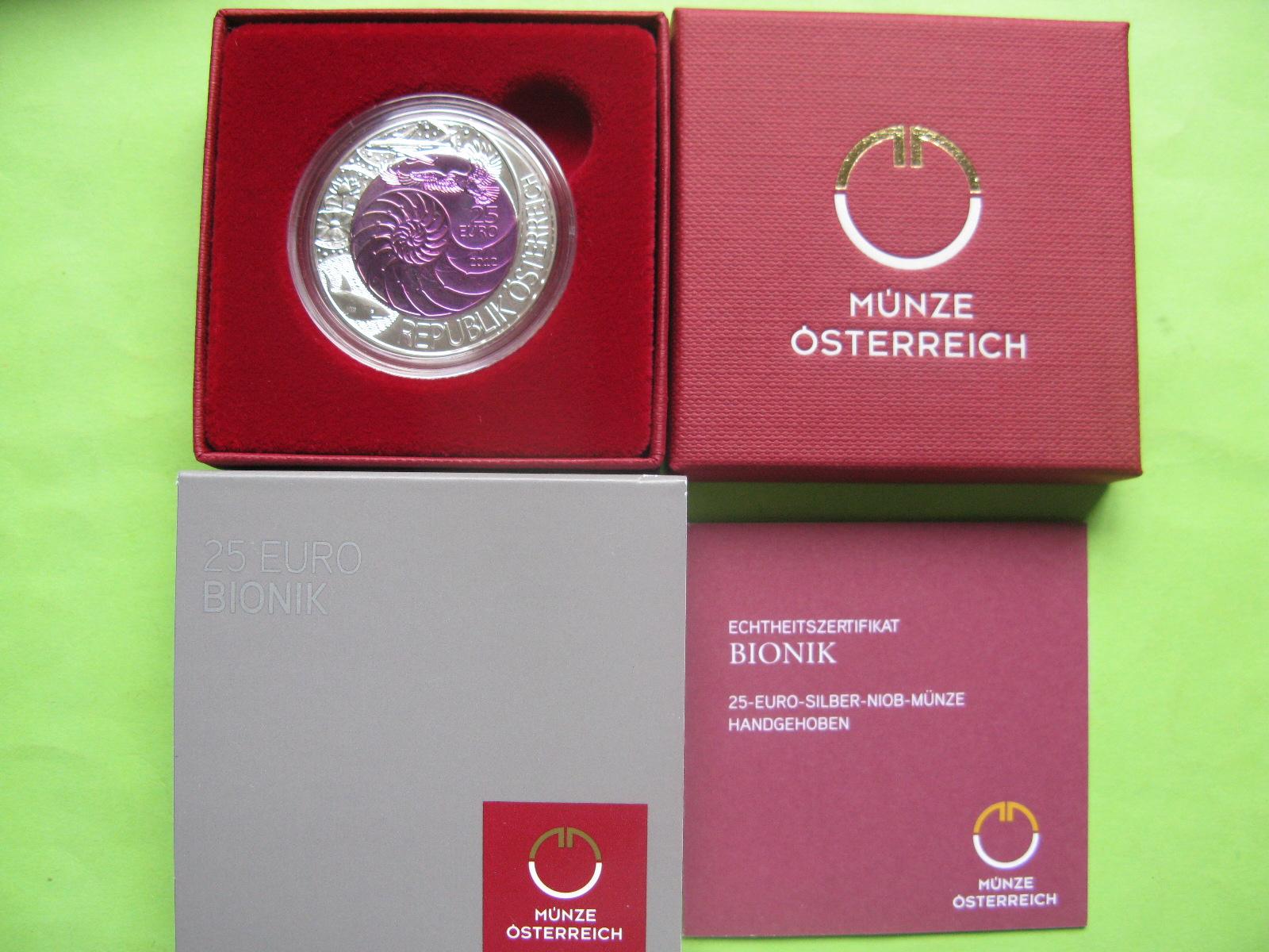 Австрия 25 евро 2012 г. Бионика