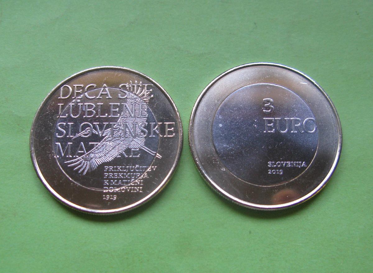 Словения 3 евро 2019 г. 100 лет со дня возвращения Прекмурского края Словении.