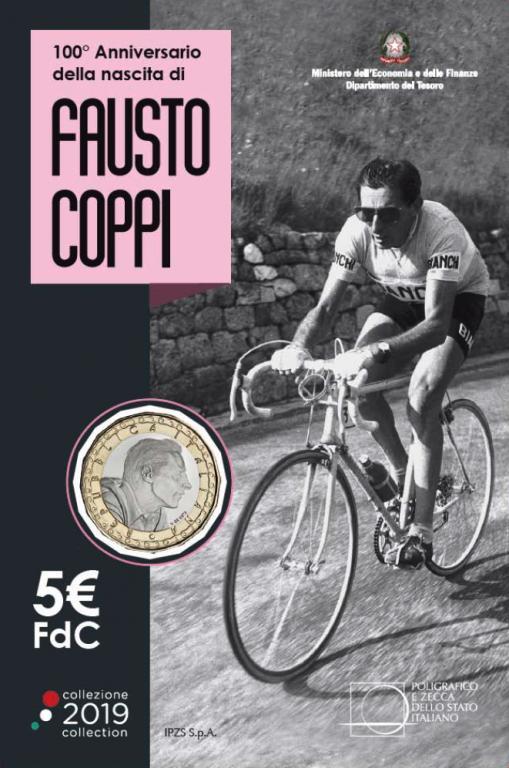 Италия 5 евро 2019 г. 100 лет со дня рождения Фаусто Коппи