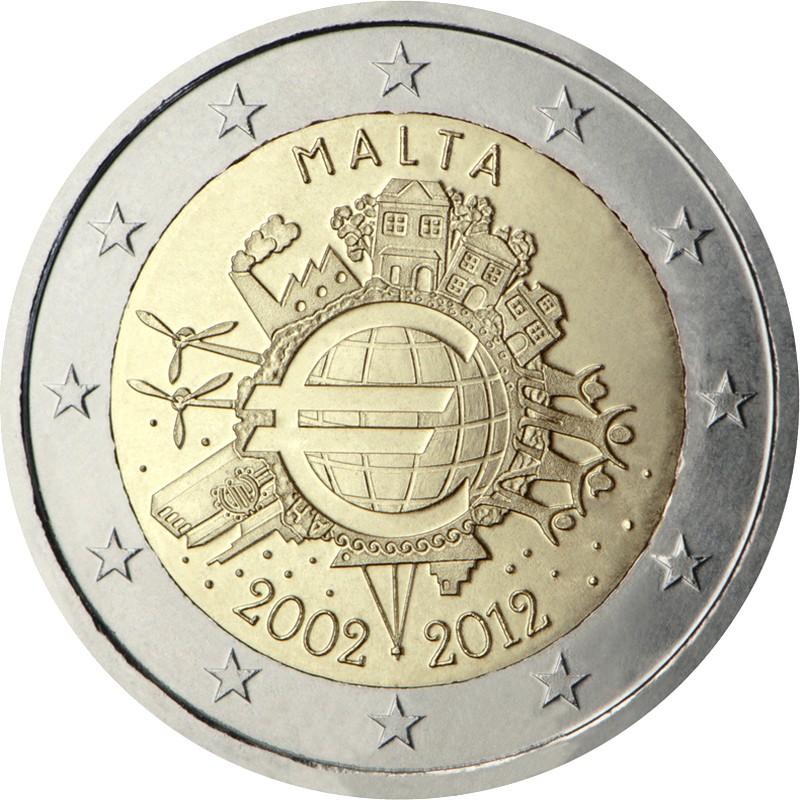 Мальта 2 евро 2012 г.    10 лет наличному евро