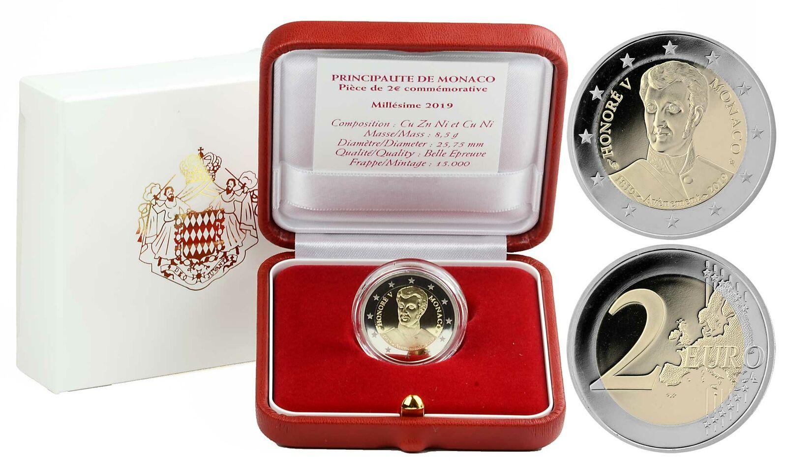 Монако 2 евро 2019 г. 200-летие вступления на престол князя Монако Оноре V
