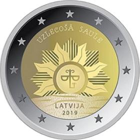 Латвия 2 евро 2019 г. Восходящее солнце.