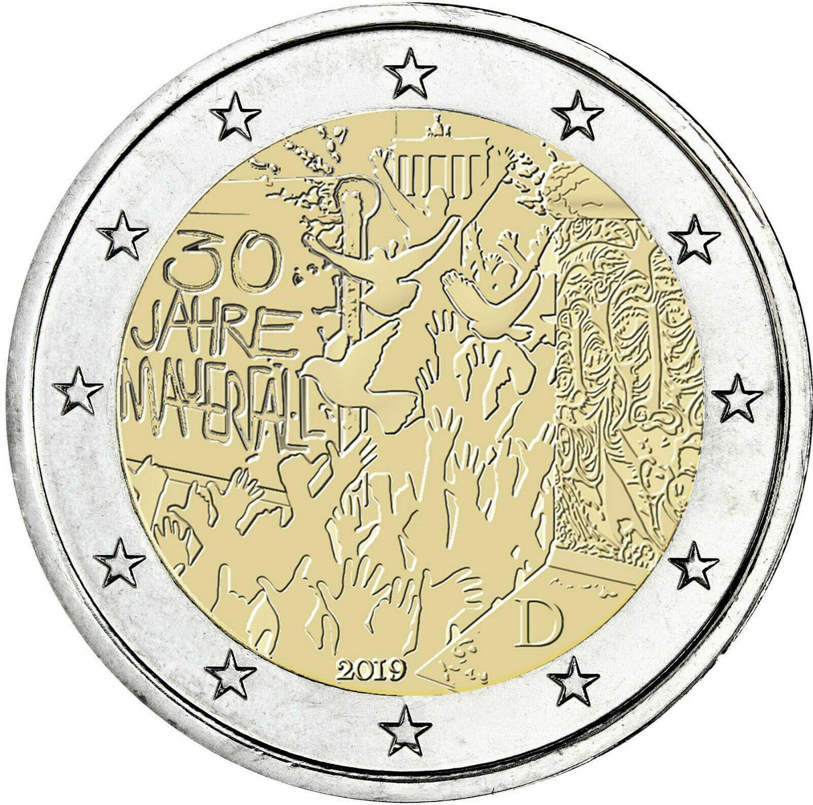Германия 2 евро 2019 г. 30-летие падения Берлинской стены