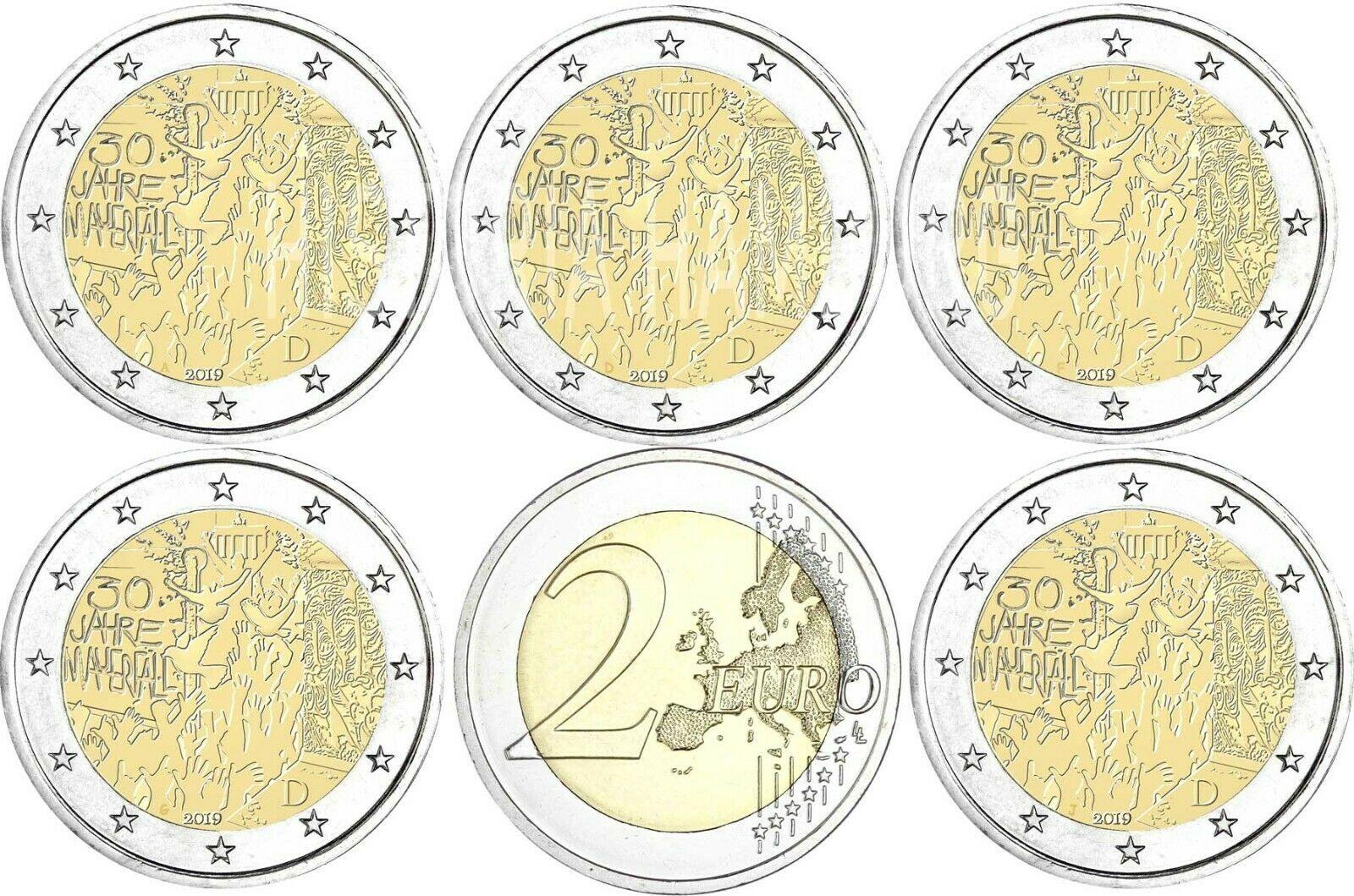 Германия 2 евро 2019 г. 30-летие падения Берлинской стены (A,D,F,G,J)