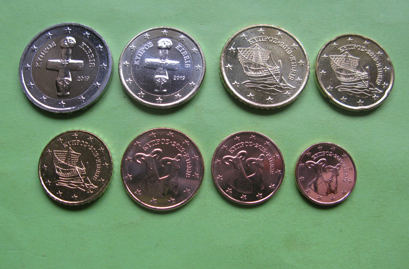 Кипр набор монет 2019 г. UNC