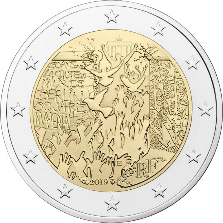 Франция 2 евро 2019 г. 30-летие падения Берлинской стены