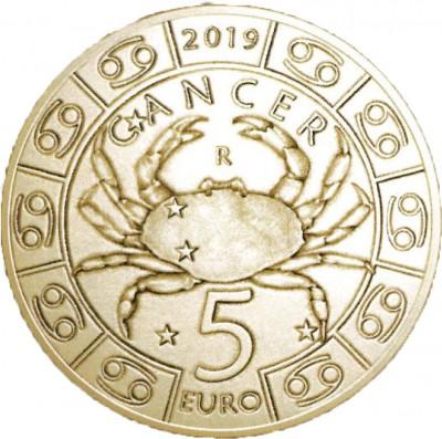 Сан Марино 5 евро 2019   Рак