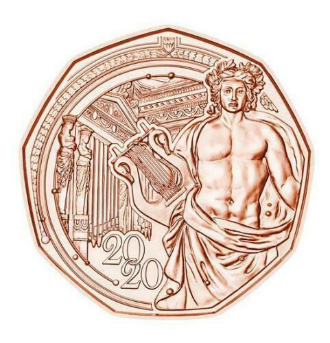 Австрия 5 евро 2020 г. 150 лет Венской филармонии