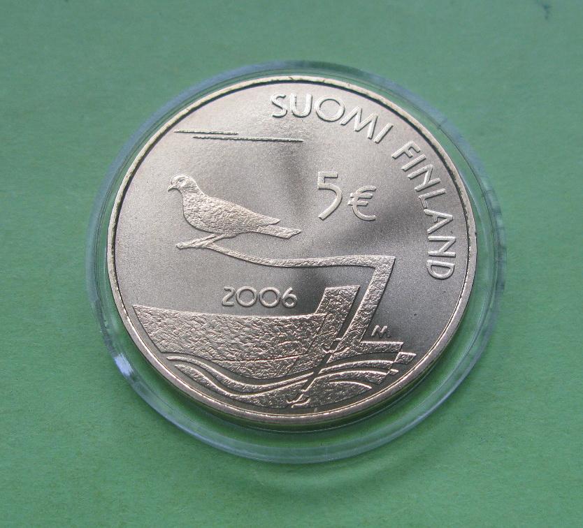 Финляндия 5 евро 2006 г. 150 лет демилитаризации Аландов