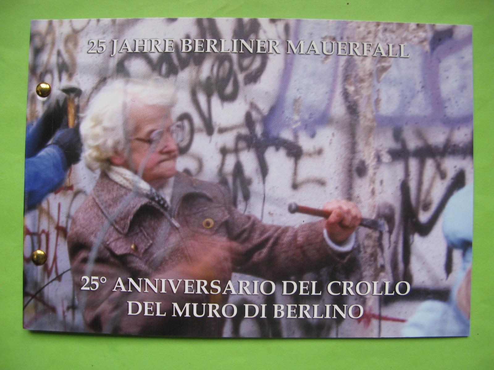 Ватикан 2 евро 2014 г. 25 лет падения Берлинской стены (конверт)