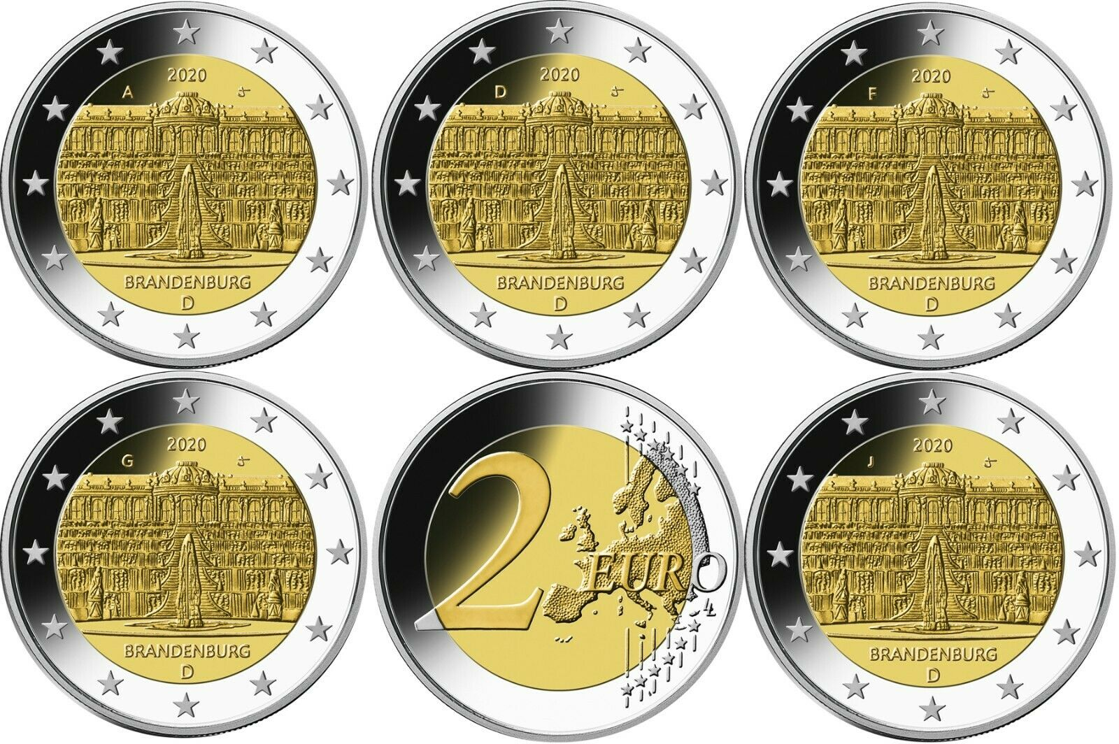 Германия 2 евро 2020 г. Дворец Сан-Суси в Потсдаме (A,D,F,G,J)