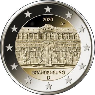 Германия 2 евро 2020 г. Дворец Сан-Суси в Потсдаме