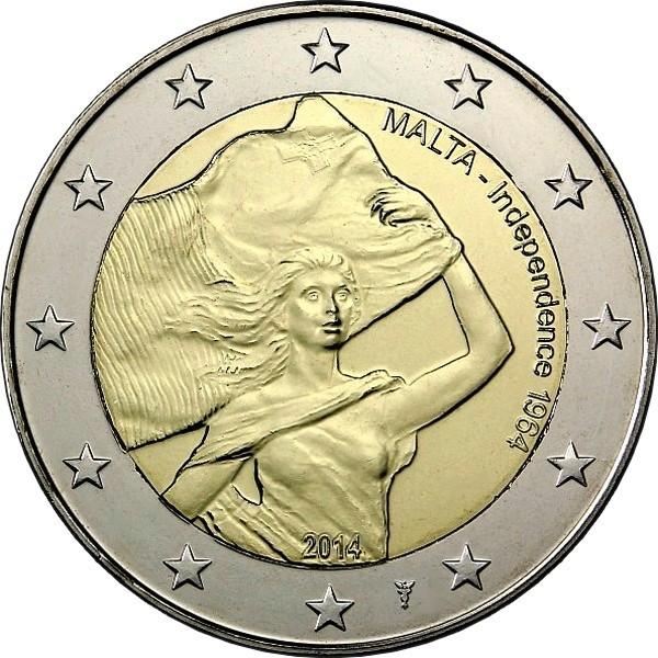 Мальта 2 евро 2014 г. Независимость 1964 года