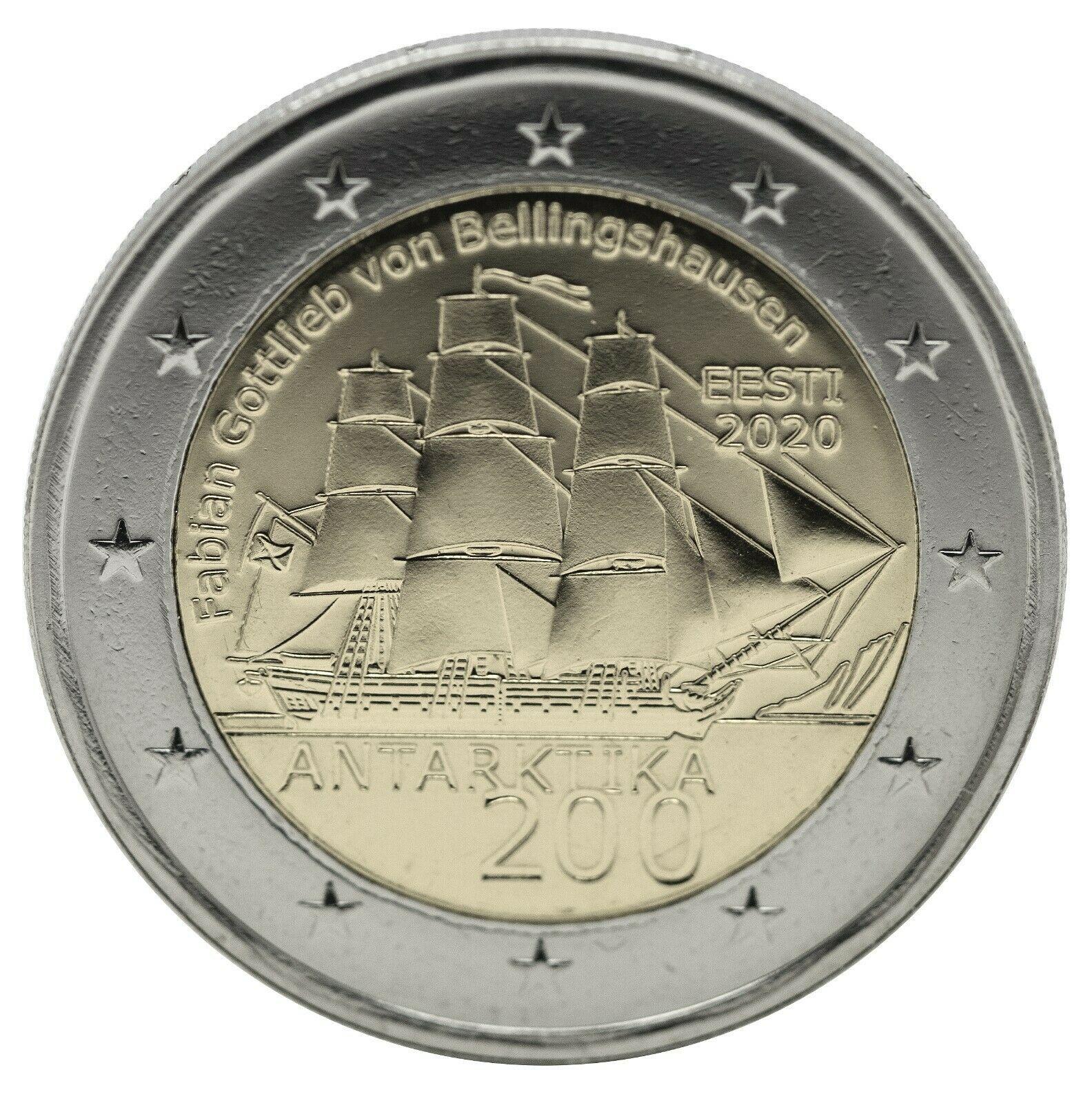 Эстония 2 евро 2020 г. 200 лет со дня открытия Антарктиды