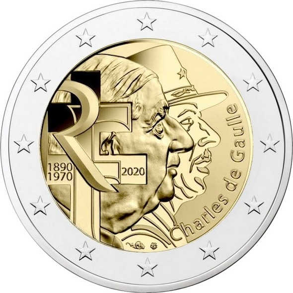 Франция 2 евро 2020 г. 50 лет со дня смерти Шарля де Голля