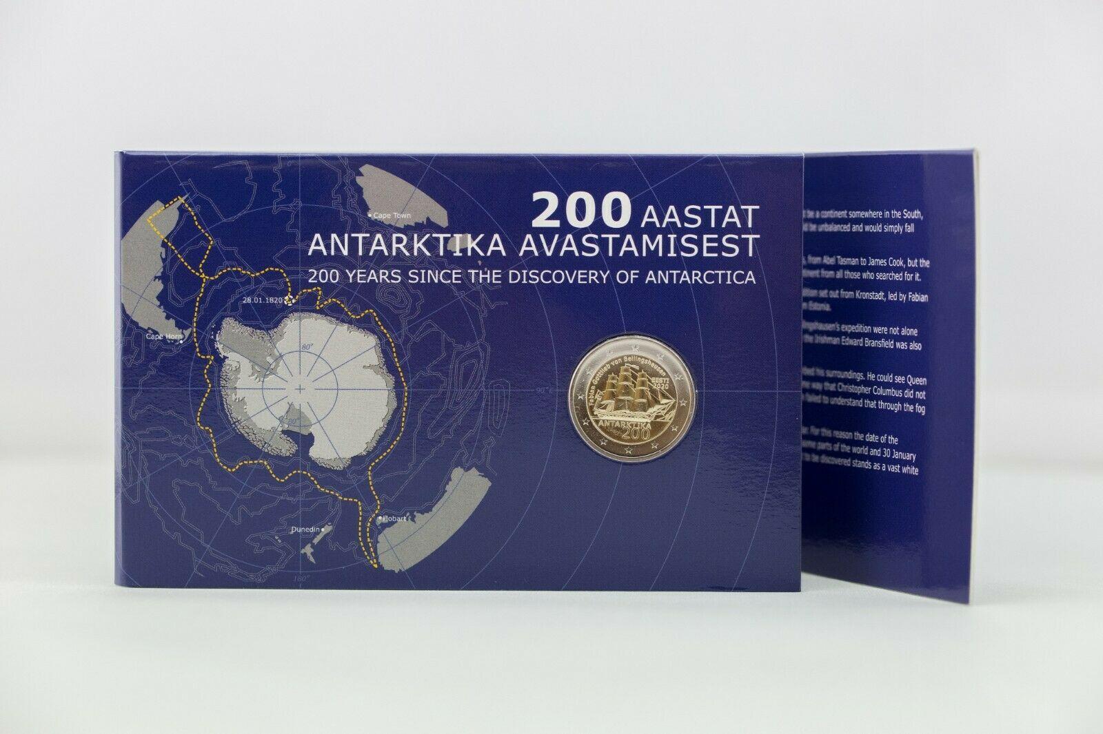 Эстония 2 евро 2020 г. 200 лет со дня открытия Антарктиды (в карточке)