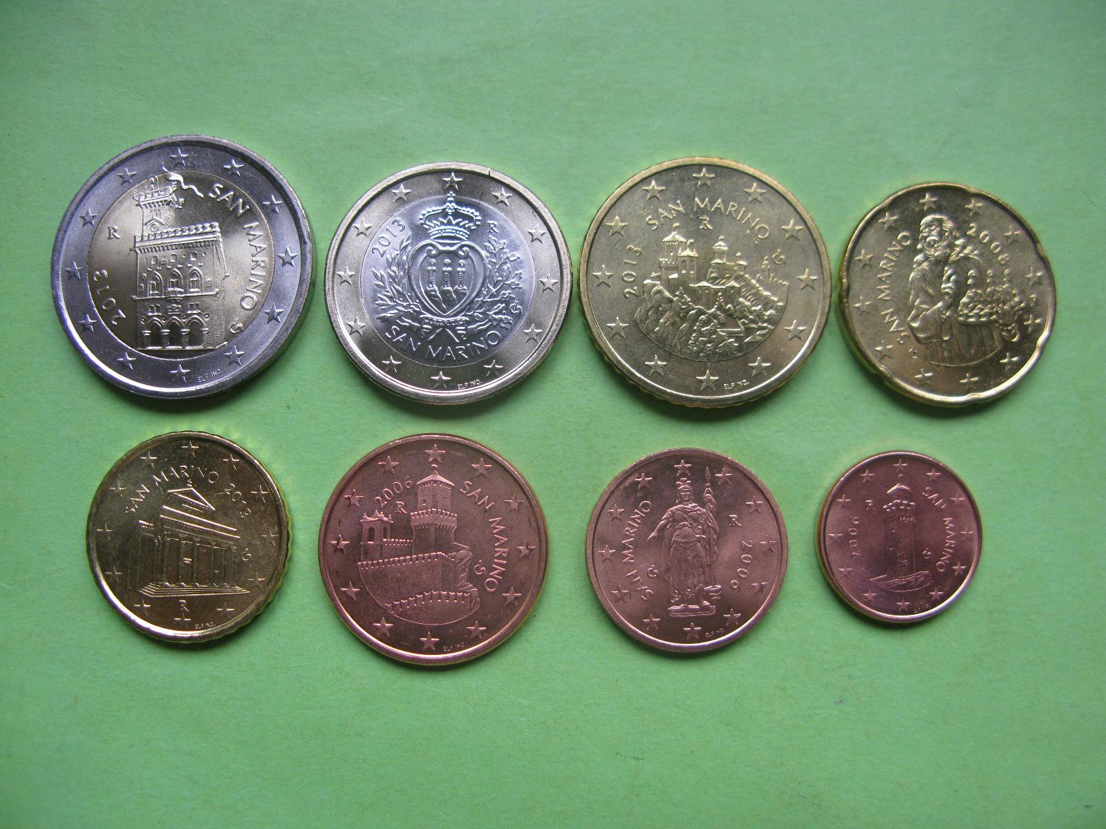 Сан Марино набор евро монет 2006-2013 г.