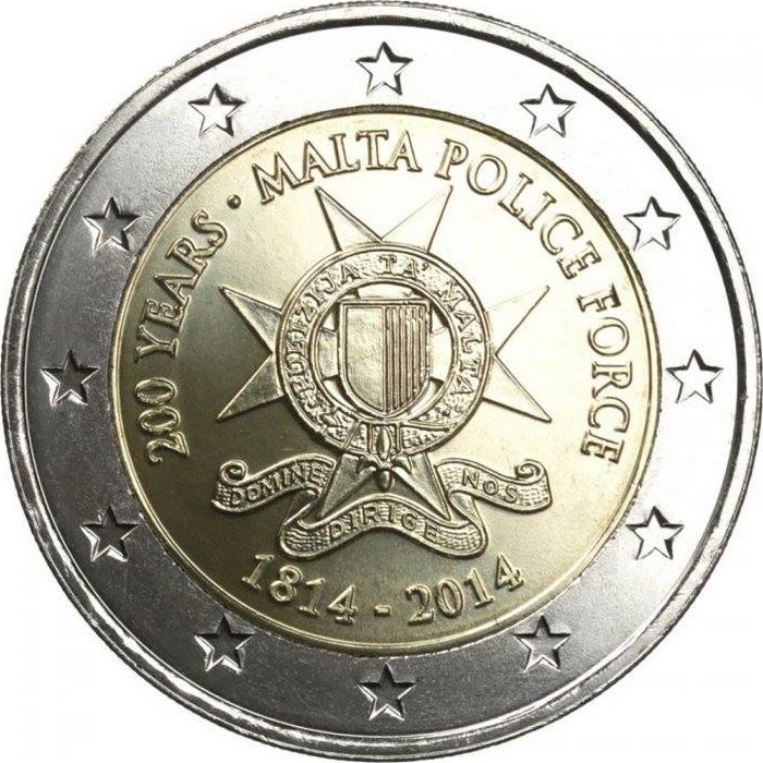 Мальта 2 евро 2014 г.  200 лет полиции Мальты