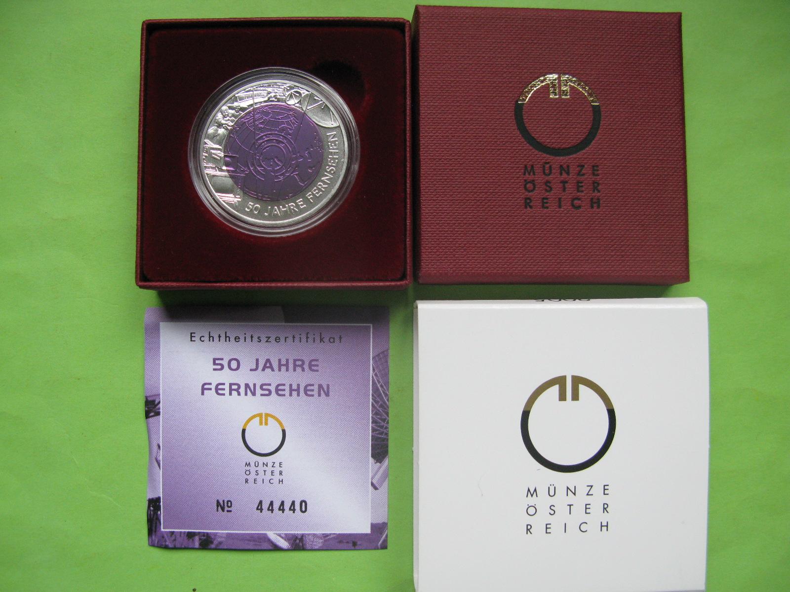 Австрия 25 евро 2005 г. 50 лет телевидению