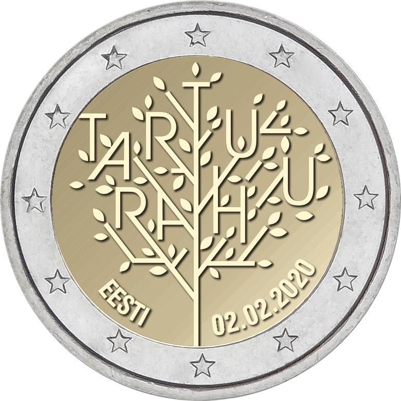 Эстония 2 евро 2020 г. 100-летие Тартуского мирного договора