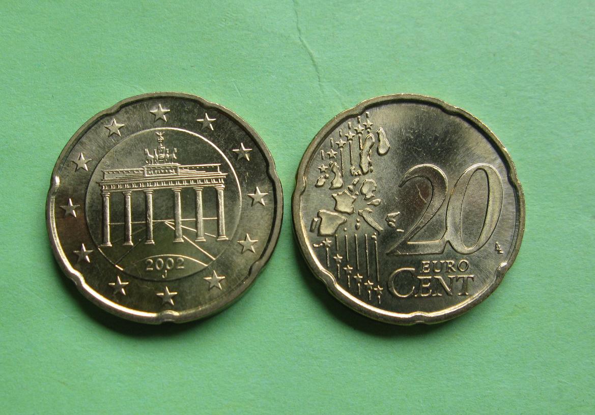 Германия 20 евро центов 2002 J