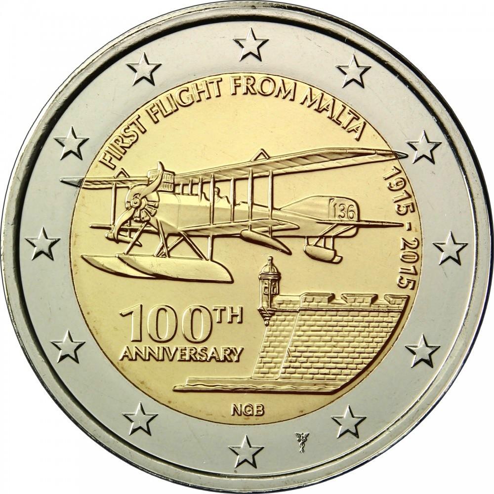 Мальта 2 евро 2015 г.  Первый авиаперелет с Мальты