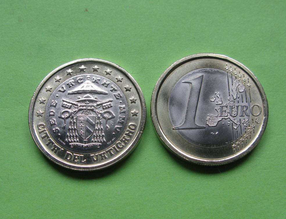 Ватикан 1 евро 2005 г. Седе Ваканте