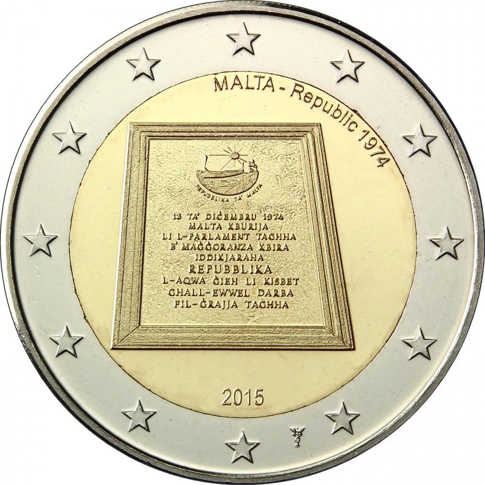 Мальта 2 евро 2015 г.   Республика 1974 года