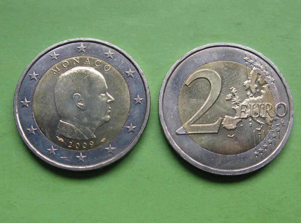Монако 2 евро 2009 г. UNC