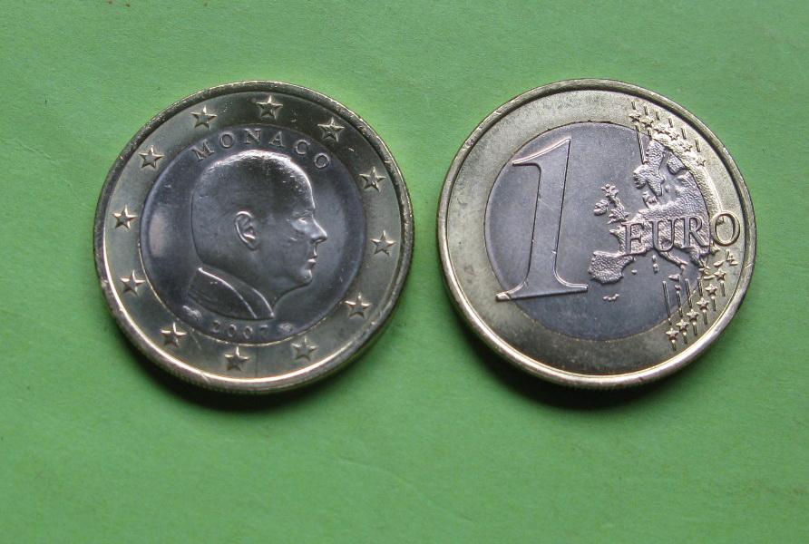 Монако 1 евро 2007 г. UNC