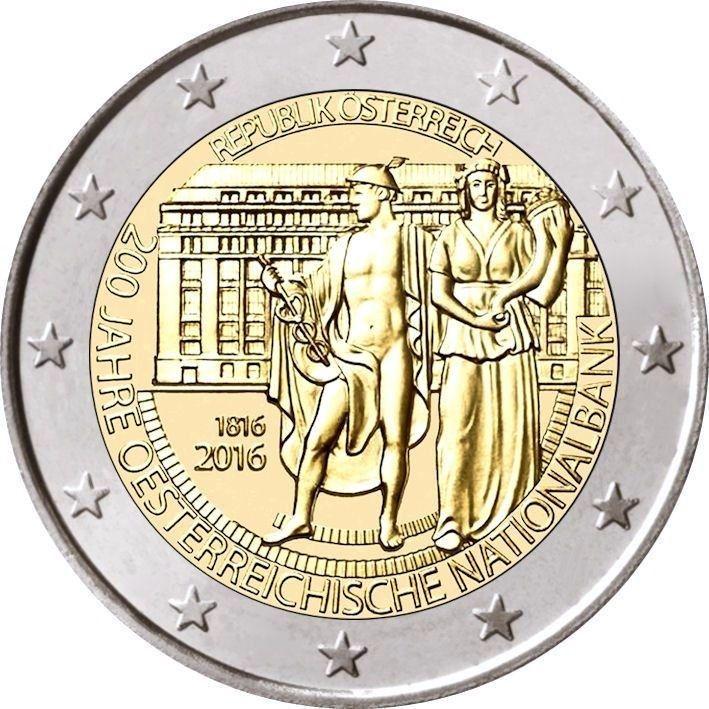 Австрия 2 евро 2016 г. 200 лет Национальному банку