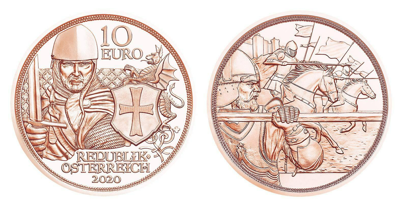 Австрия 10 евро 2020 г. «С кольчугой и мечом» - смелость.