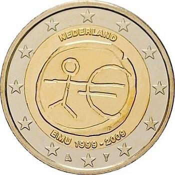 Нидерланды 2 евро 2009  10 лет экономическому союзу