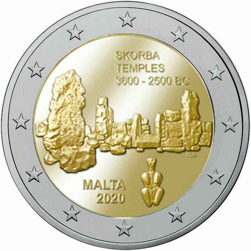 Мальта 2 евро 2020 г. Мегалитический храм Скорба