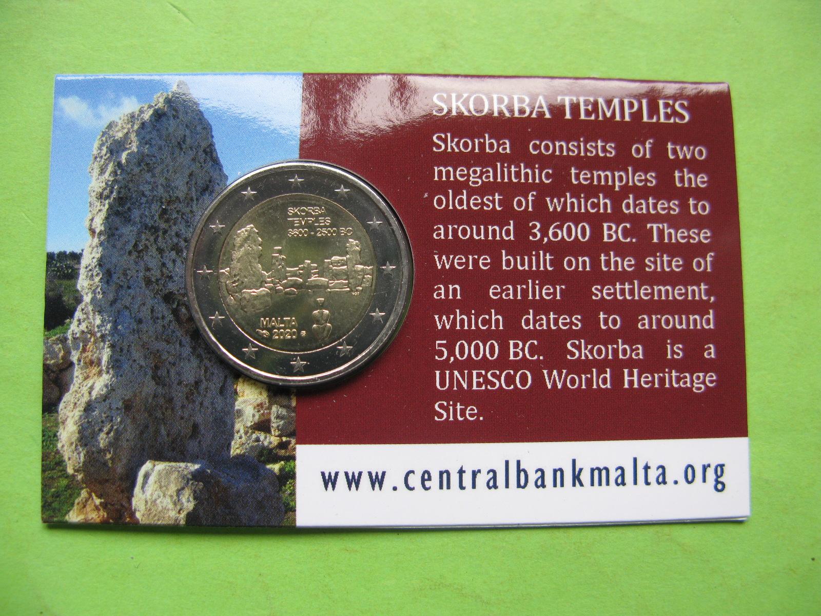Мальта 2 евро 2020 г. Мегалитический храм Скорба (в карточке)