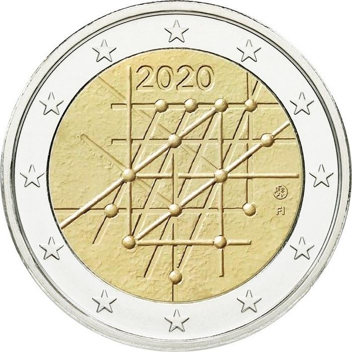 Финляндия 2 евро 2020 г. 100-летие университета Турку
