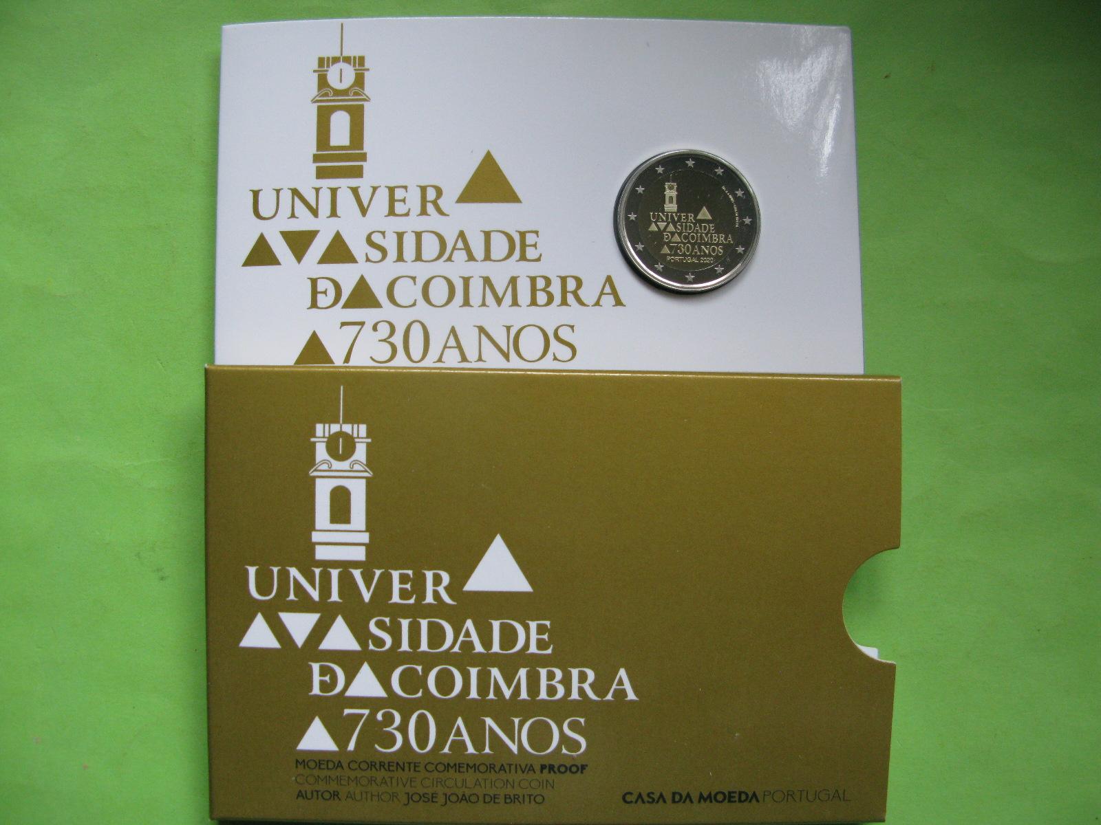 Португалия 2 евро 2020 г. 730-летие университета Коимбры (пруф)