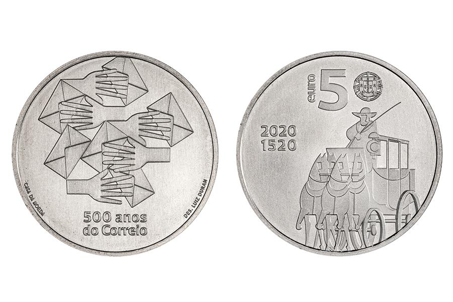 Португалия 5 евро 2020 г. 500 лет Португальской почты