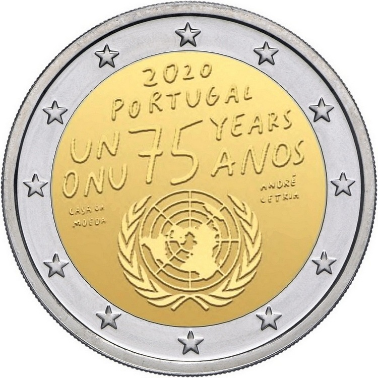 Португалия 2 евро 2020 г. 75 лет ООН