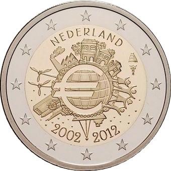 Нидерланды 2 евро 2012       10 лет наличному евро