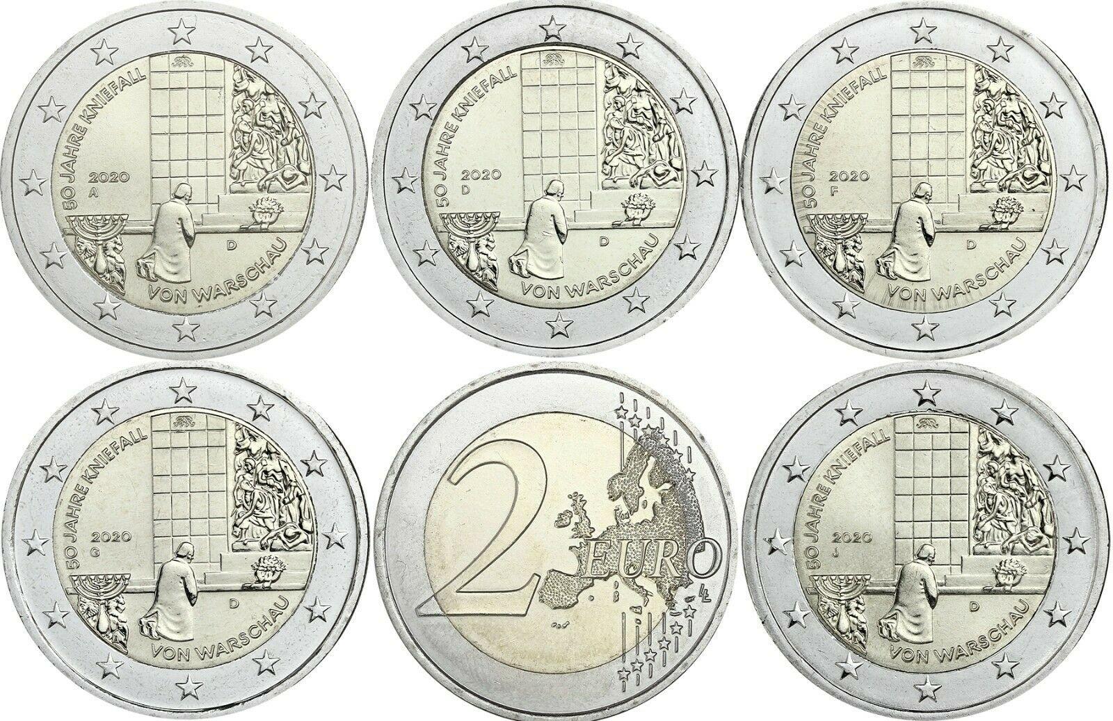 Германия 2 евро 2020 г. 50-летие коленопреклонения в Варшаве (A,D,F,G,J)