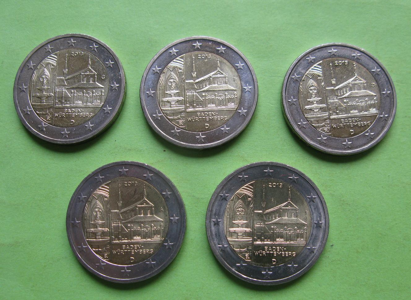 Германия 2 евро 2013 г. Баден-Вюртемберг ( A,D,F,G,J)