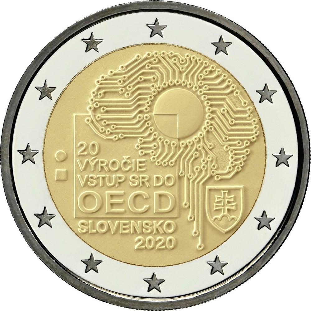 Словакия 2 евро 2020 г. 20-я годовщина вступления Словакии в ОЭСР