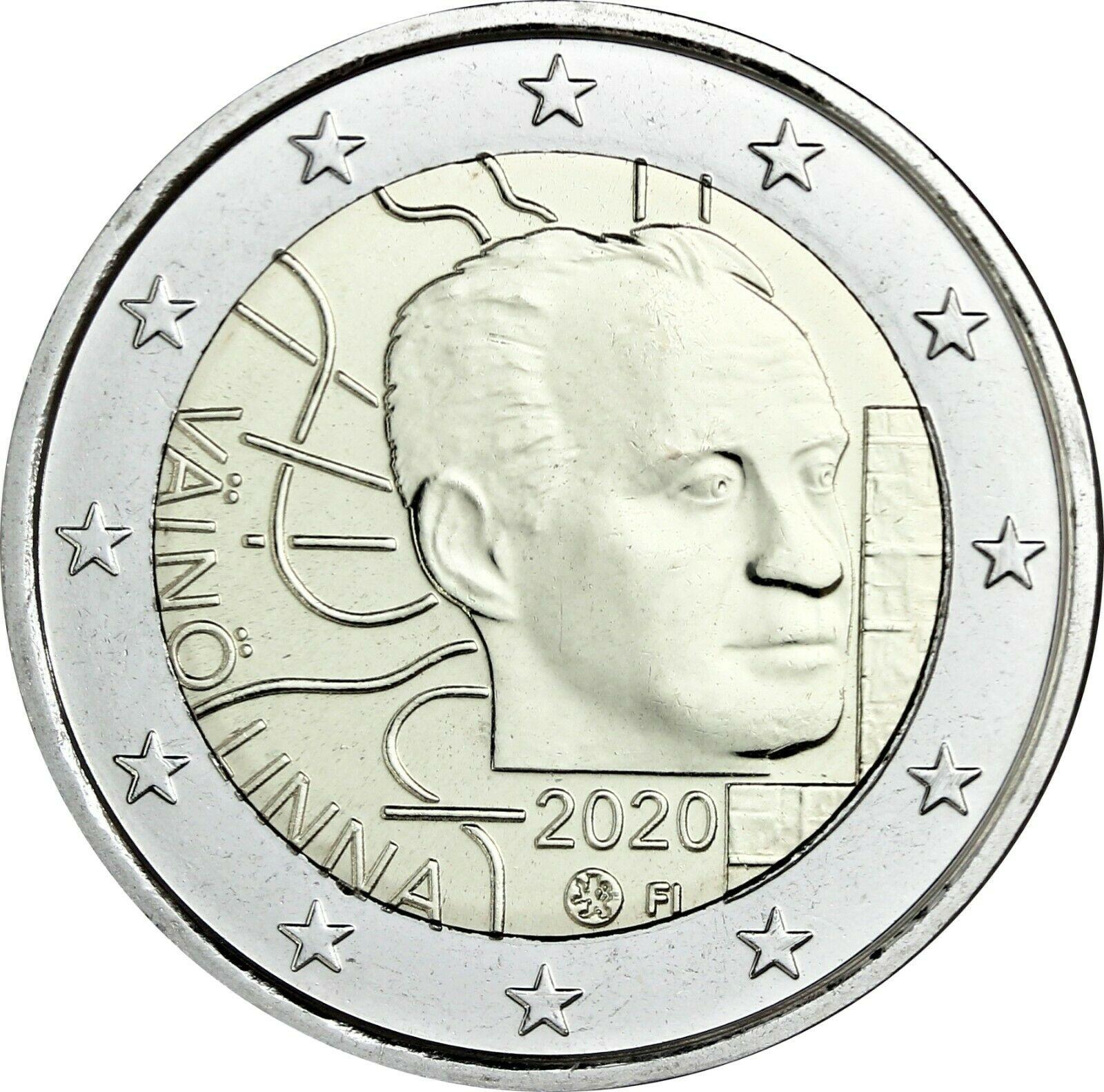 Финляндия 2 евро 2020 г. 100 лет со дня рождения Вяйнё Линна