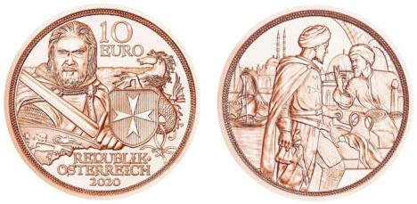 Австрия 10 евро 2020 г. «С кольчугой и мечом» - стойкость